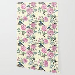 Vintage & Shabby Chic - Lush pastel roses and hummingbird pattern Wallpaper