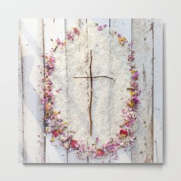 """He is Risen"" Cross Metal Print"