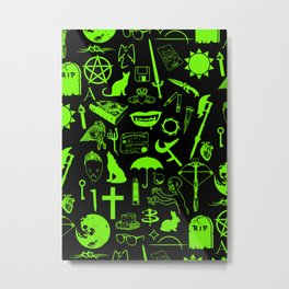 Buffy Symbology, Green Metal Print