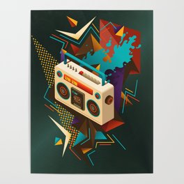 Bust Out The Jams Retro 80s Boombox Splash Poster