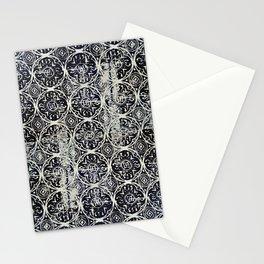 Navy Block Print Pattern Stationery Cards