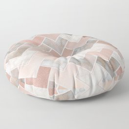 Rose Gold and Marble Geometric Tiles Floor Pillow