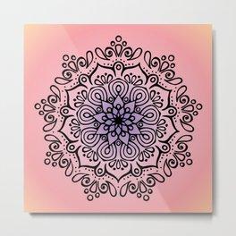 Baesic Sunset Traquil Mandala Metal Print