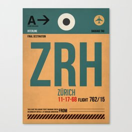 ZRH Zurich Luggage Tag 1 Canvas Print