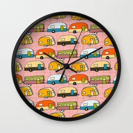 Retro Campers Pink #midcentury Wall Clock