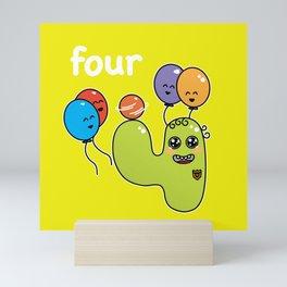 Number 4 birthday Mini Art Print