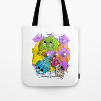 pacman Tote Bags featuring Pacman by Jesús L. Yapor