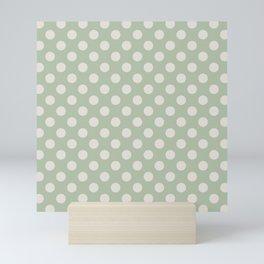 Large Polka Dots in Cream on Sage Green Mini Art Print