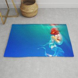 Marvelous Fantasy Red Hair Mermaid Beauty Curling Up Underwater Dreamland Ultra HD Rug