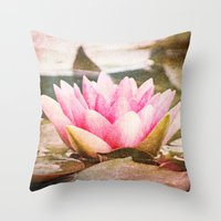 lotus flower Throw Pillows featuring Lotus by Around the Island (Robin Epstein)