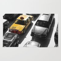taxi driver Area & Throw Rugs featuring Taxi by creativecam