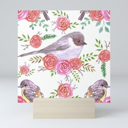 Robins and bushtits on floral branches Mini Art Print