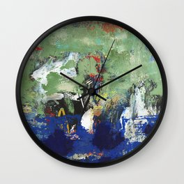 Finback Abstract Blue Green Wall Clock