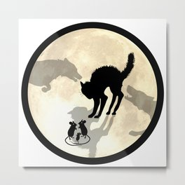 Circle Of Life Moon - round Metal Print