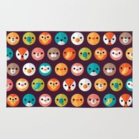 faces Area & Throw Rugs featuring SMILEY FACES 1 by Daisy Beatrice