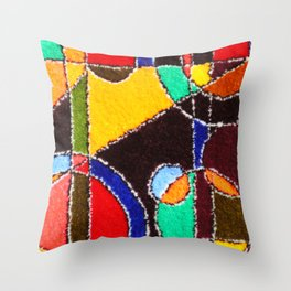 A carpet with an abstract pattern made by hands. Throw Pillow