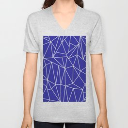 Geometric Cobweb (White & Navy Blue Pattern) Unisex V-Neck