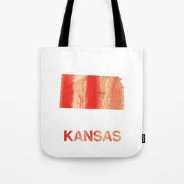 Kansas map outline Burnt sienna watercolor Tote Bag
