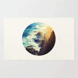 Mid Century Modern Round Circle Photo Graphic Design Blue Waters Rocky Shores With Sunlight Rug