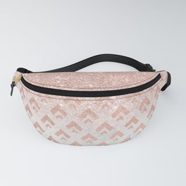 Faux rose gold glitter ombre rose gold foil triangles chevron geometric on white marble Fanny Pack
