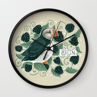 puffin Wall Clocks featuring Blackberry Puffin by Kelsey King Illustration