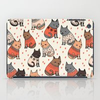 sweater iPad Cases featuring Sweater Cats - by Andrea Lauren by Andrea Lauren Design