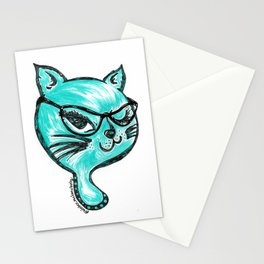 Winking Kitty Glasses Teal Stationery Cards