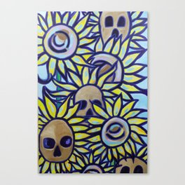S is for Sunflowers and Skulls Canvas Print