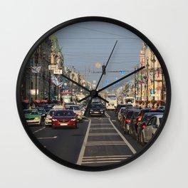Cars traffic on Nevsky Prospect Wall Clock