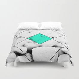 Modern abstract black white rocks stone photography geometric shapes turquoise color block Duvet Cover