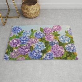 Beautiful Hydrangeas flowers nature purple and blue colors Rug