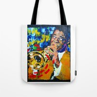 louis armstrong Tote Bags featuring Louis Armstrong by Phil Fung