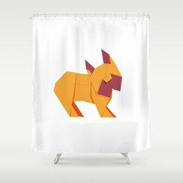 Origami French Bulldog Shower Curtain