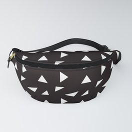Triangle Toss in White on Black Fanny Pack