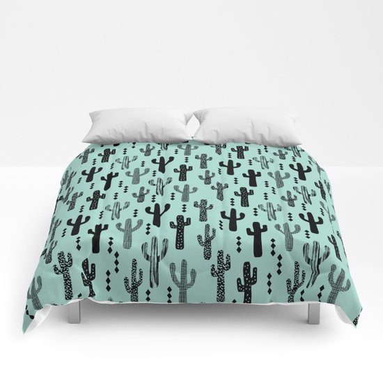 Cactus pattern print mint black minimal geometric modern illustration desert southwest nature Comforters