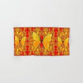 GOLDEN YELLOW BUTTERFLIES RED PATTERN ABSTRACT Hand & Bath Towel