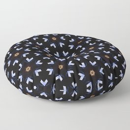 Neon Blue And Orange Stars And Shapes Pattern Floor Pillow