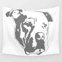 pitbull Wall Tapestries featuring COACH - GREY by Kirk Scott