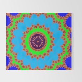 Lovely Healing Mandalas in Brilliant Colors: Royal Blue, Green, Light Blue, Orange, Maroon and Pink Throw Blanket