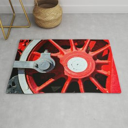 Grunge Red Wheel And White Driving Rod Of A Vintage Steam Engine Locomotive Rug
