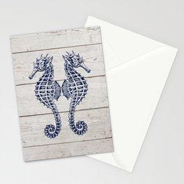 Navy Blue Ocean Seahorse Couple Beach Love On Woodgrain Stationery Cards