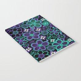 Funky 90s Glow Black Purple Floral Pattern Notebook