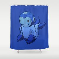 mega man Shower Curtains featuring Mega-Man Whale by CoolBreezDesigns