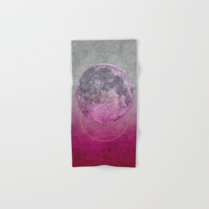 Pink Moon geometric circle mixed media Hand & Bath Towel