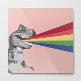T-Rex Rainbow Ray Blast in Pink Metal Print