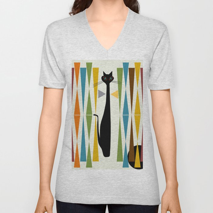 Mid-Century Modern Art Cat 2 Unisex V-Neck