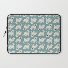 Bichon Frise Dog Pattern Green Laptop Sleeve