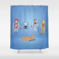 thundercats Shower Curtains featuring Thundercats - Pixel Nostalgia  by Boo! Studio