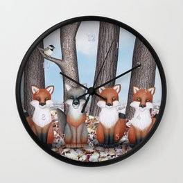 fox friends (with chickadees) Wall Clock