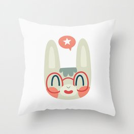 Cute Green Bunny Wearing Glasses Throw Pillow
